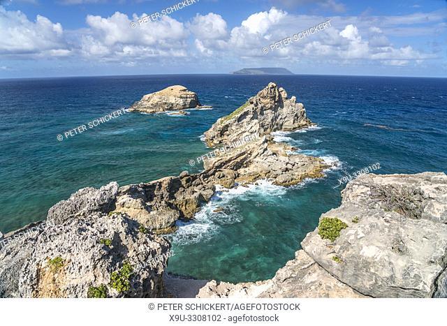Felsformation auf der Halbinsel Pointe des Chateaux, Guadeloupe, Frankreich   rock formations at Pointe des Chateaux peninsula, Guadeloupe, France