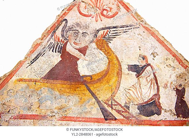Lucanian fresco tomb painting of a women boarding a boat on which a winged angel waits to take her to the next life . Paestrum, Andriuolo. Tomb n