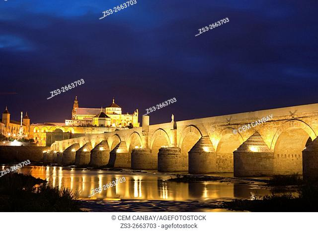 View to the Guadalquivir river and Roman bridge with the cathedral at the background in historic centre of Cordoba, Andalucia, Spain, Europe