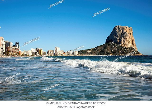 """Penon de Ifach (Penyal d'Ifach) and """"""""Playa Arenal Bol"""""""" beach of Calpe on the Costa Blanca, Alicante Province, Spain"""