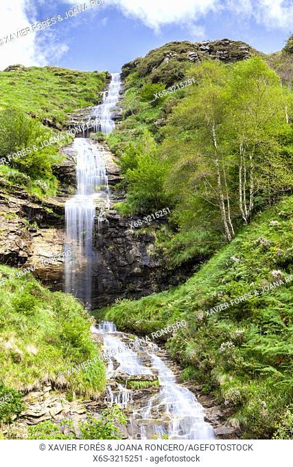 Waterfall in Yera river, Valles Pasiegos near Vega de Pas, Cantabria, Spain