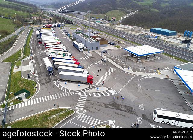 Ristop - Badia Nuova Ovest. Truck stop, restaturnag and Tamoil petrol station at Road A1, Castiglione dei Pepoli, Italy