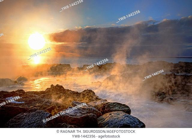 Sunset, lava and steam Area close to the Hitaveita Sudurnesja Geothermal power plant, Iceland