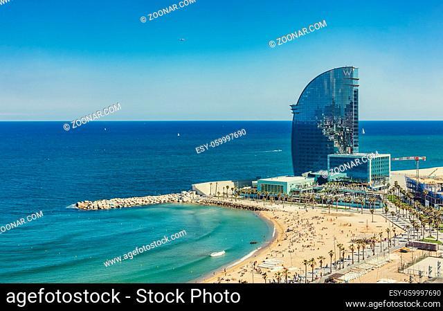 Barceloneta beach in Barcelona Spain. Airview of the beach sunny summer day