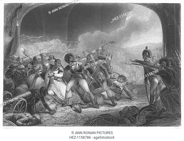 'Last Effort and Fall of Tippoo Sultan' (1799), mid-19th century. Death of Tippoo Sahib (1753-1799) Sultan of Mysore at his stronghold, Seringapatam