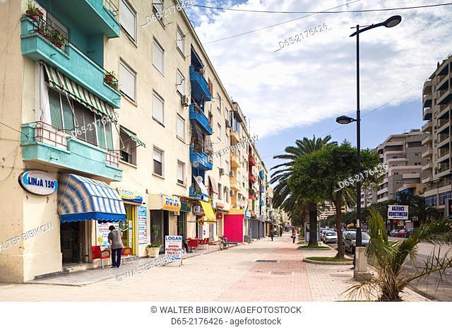 Albania, Vlora, buildings along Sadik Zotaj street
