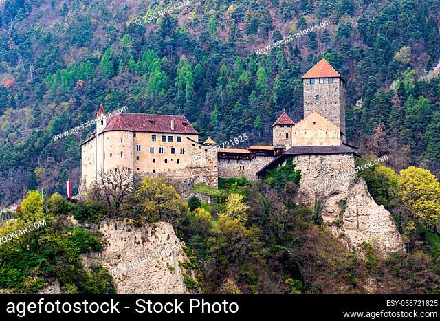 Detail view on Tyrol Castle. Tirol Village, Province Bolzano, South Tyrol, Italy