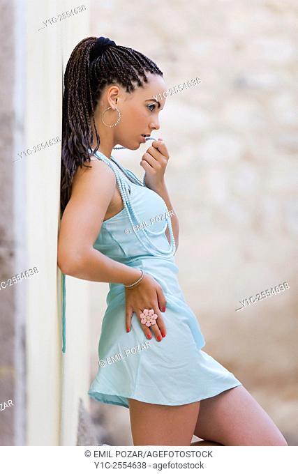 Teen girl pretty in Blue minidress
