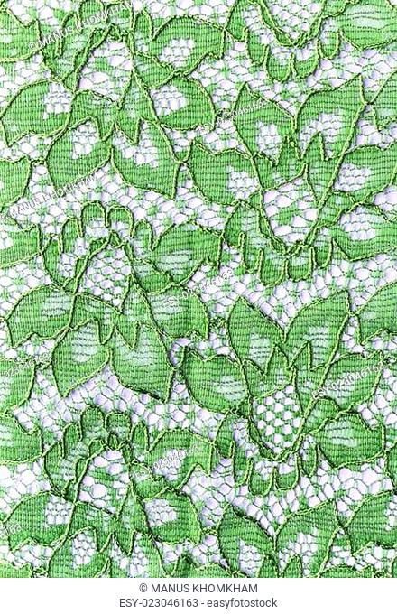 Beautiful green lace on the fabric