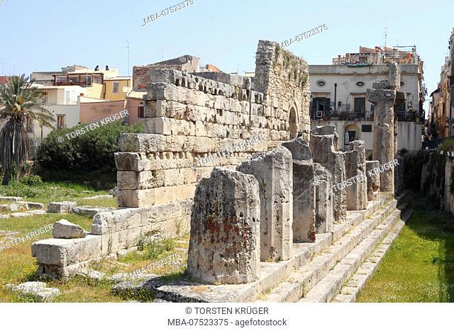 Tempio di Apollo, Apollo Temple in the old town, Ortygia, UNESCO World Heritage cultural site, Syracuse, Sicily, Italy, Europe
