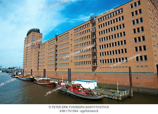 Sandtorhafen canalside buildings Warehouse district HafenCity former harbour area central Hamburg Germany Europe