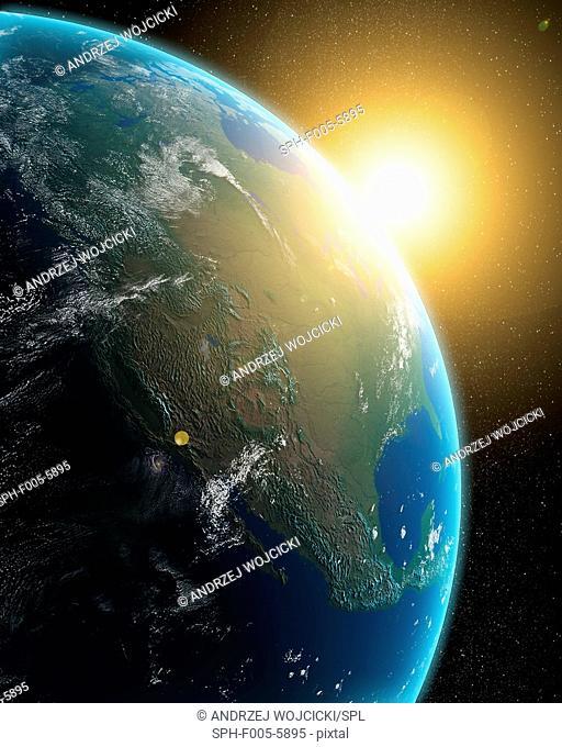 Sunrise over North America, computer artwork