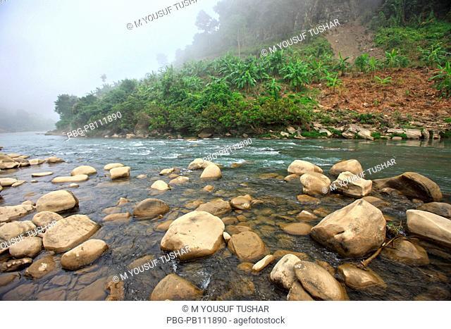 Water flowing over rocks in the Sangu River at Tindu Bandarban, Bangladesh November 2010