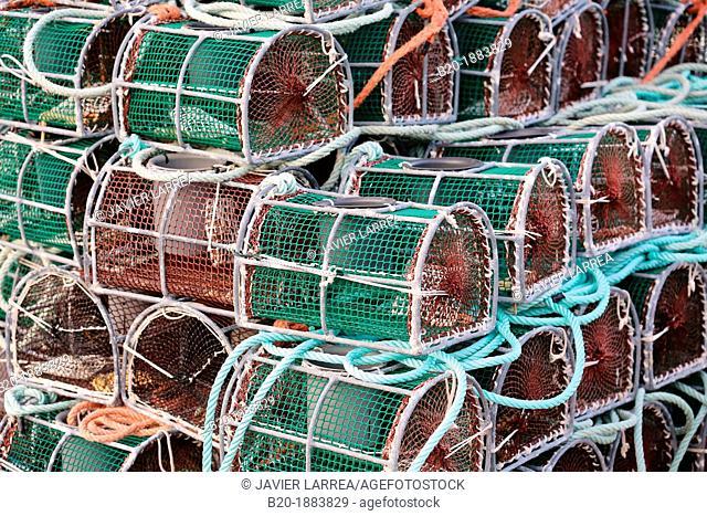 Nasa for catching seafood, Ria de Vigo, Cangas, Pontevedra province, Galicia, Spain