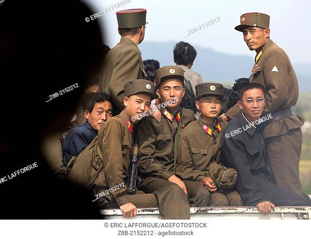 Soldiers On A Truck, Hamhung, North Korea