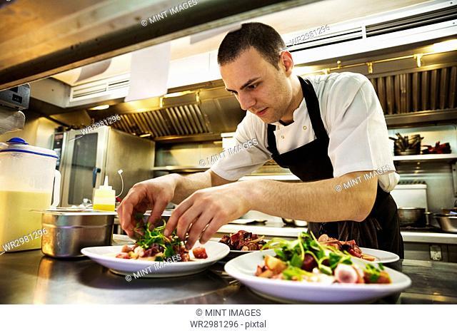 Chef standing in kitchen, wearing apron, adding salad garnish to plates of food