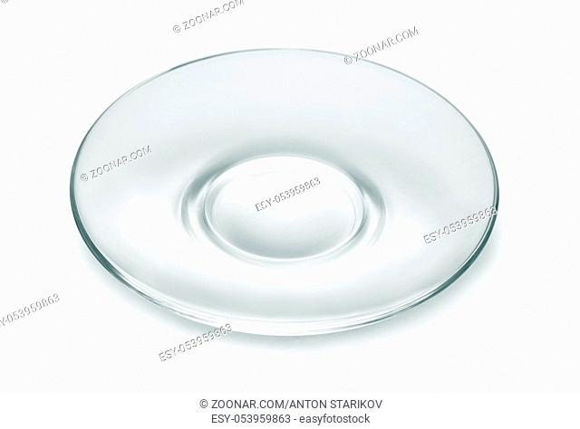 Empty glass saucer isolated on white