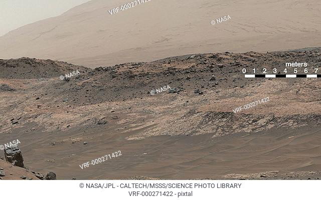 Mars landscape. Panorama showing terrain on the surface of Mars, recorded by NASA's Curiosity rover Mastcam on May 10th, 2015