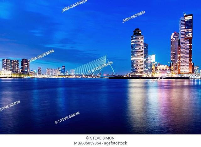 Erasmus Bridge in the evening in Rotterdam