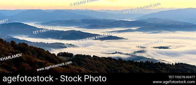 Ukraine, Zakarpattia region, Carpathians, Borzhava, Panoramic view of mountain landscape