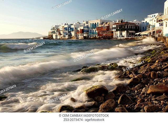 Little Venice and the waves on a windy day, Mykonos, Cyclades Islands, Greek Islands, Greece, Europe