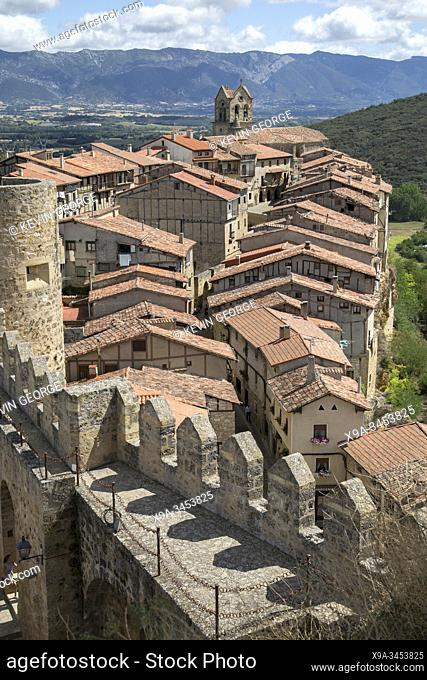Roof Tops and Castle in Village of Frias, Burgos, Spain
