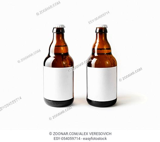 Two brown beer bottles with blank labels