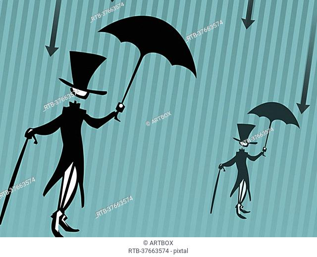 Two men holding umbrellas and canes