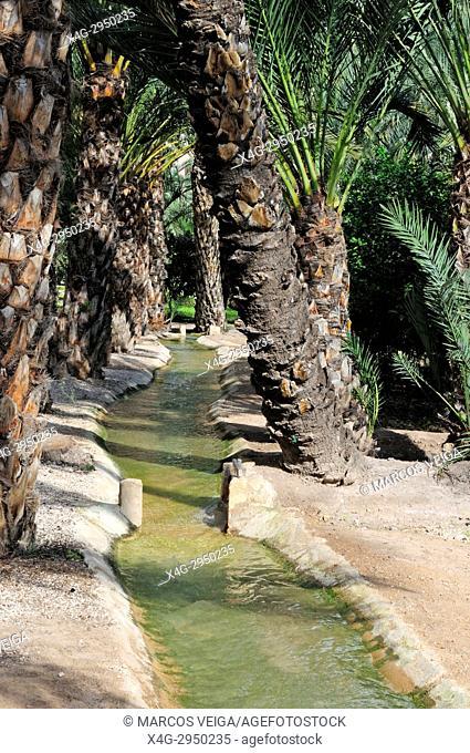 Irrigation canal. Elche, Alicante, Spain