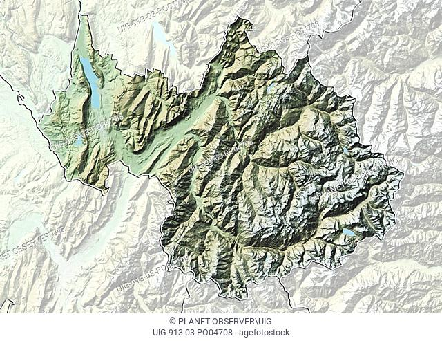 Departement of Savoie, France, Relief Map
