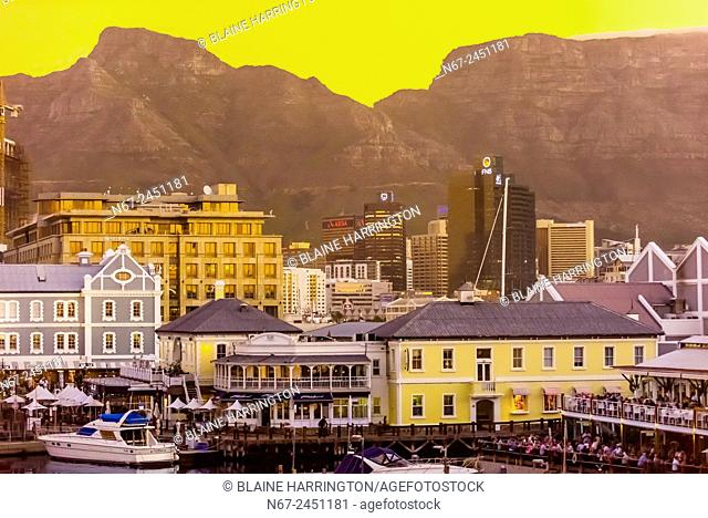 V&A Waterfront with Central Business District behind, Cape Town, South Africa