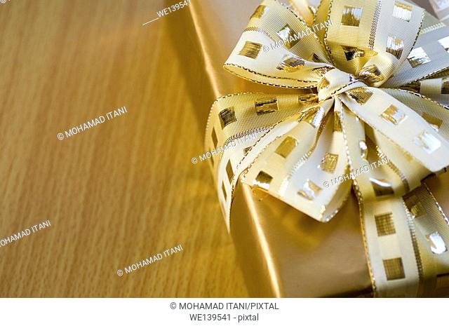 Close up of a wrapped gift box
