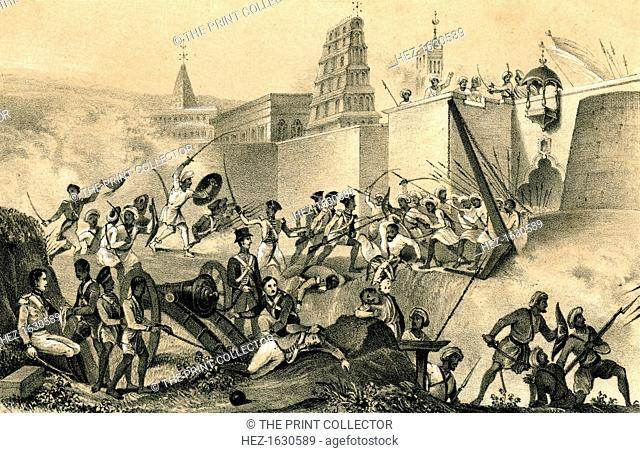 'The last effort of Tippoo Saib at Seringapatam', 1799, (1847). The death of Tippoo Sahib (1753-1799), Sultan of Mysore at his stronghold, Seringapatam, India