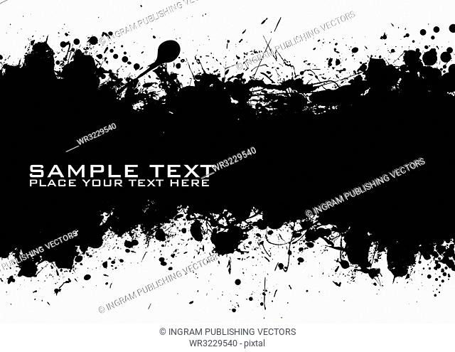 Sample text with black ink background and grunge effect