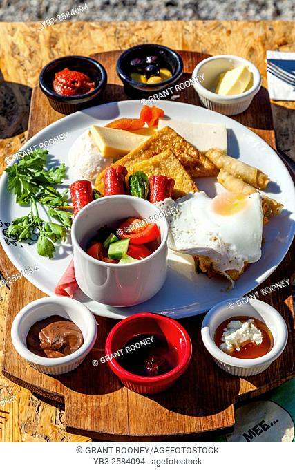 A Typical Turkish Breakfast Served At A Beachside Cafe/Restaurant, Bodrum, Mugla Province, Turkey