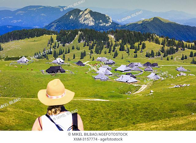 Mountains in summer with woman and huts. Velika Planina area. Upper Carniola region. Slovenia, Europe