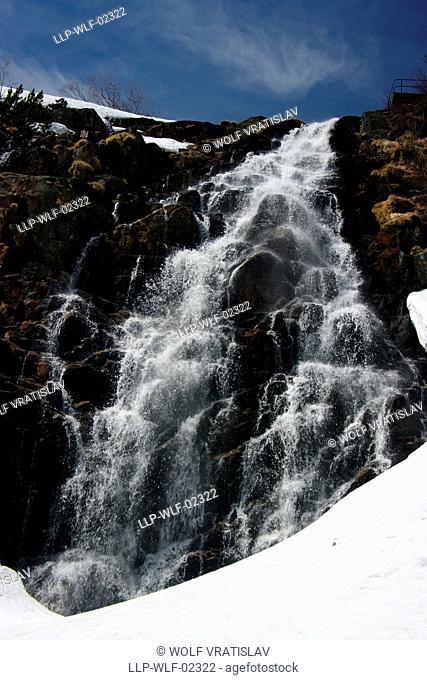 Elbe Waterfall, Krkonose National Park, Giant Mountains, the Northern Bohemia, Czech Republic