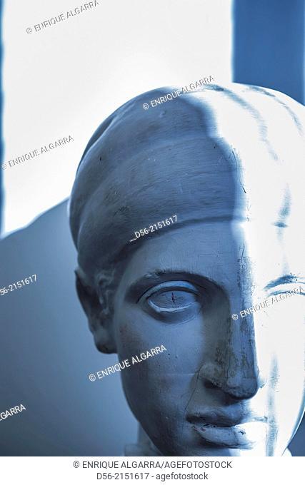 head of a statue, copy of an original piece of greek art used as a model in a school art