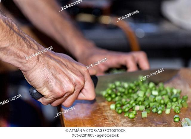 Cook slicing green vegetables