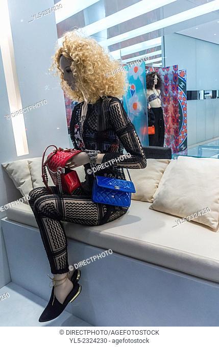 Paris, France, Mannequin on Display inside Luxury Store Window, Dior, Rue Faubourg Saint Honoré