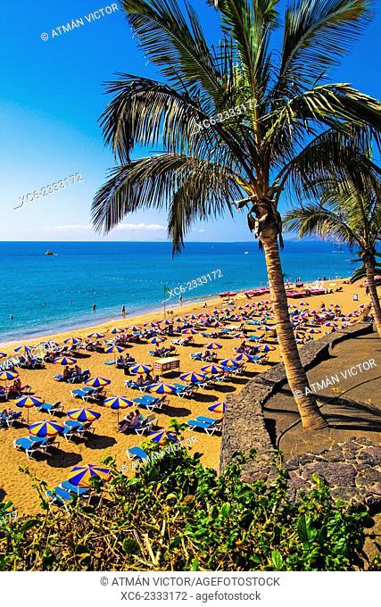 Playa Grande beach in Puerto del Carmen. Lanzarote island, Canary Islands, Spain