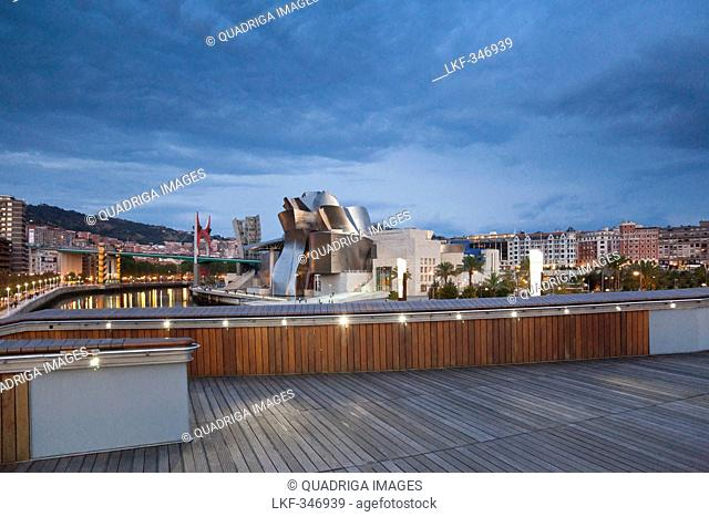 The Guggenheim Museum in Bilbao, seen from Puente Padre Arrupe, Basque country, Bilbao, Basque country, Spain, Europe