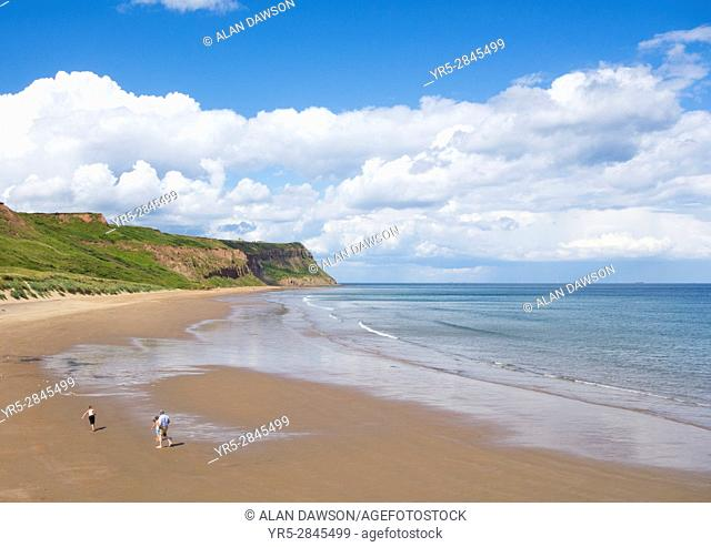 View over Cattersty Sands beach at Skinningrove from The Cleveland Way coastal trail on the North Yorkshire coast between Saltburn and Staithes
