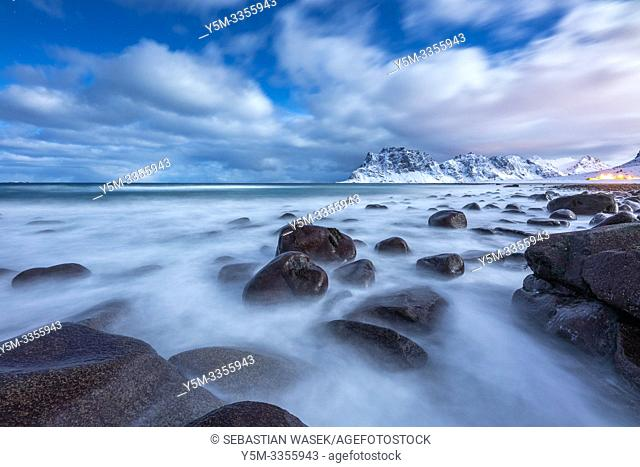 Uttakleiv Beach in Moonlight, Vestvågøy, Lofoten, Norway, Europe