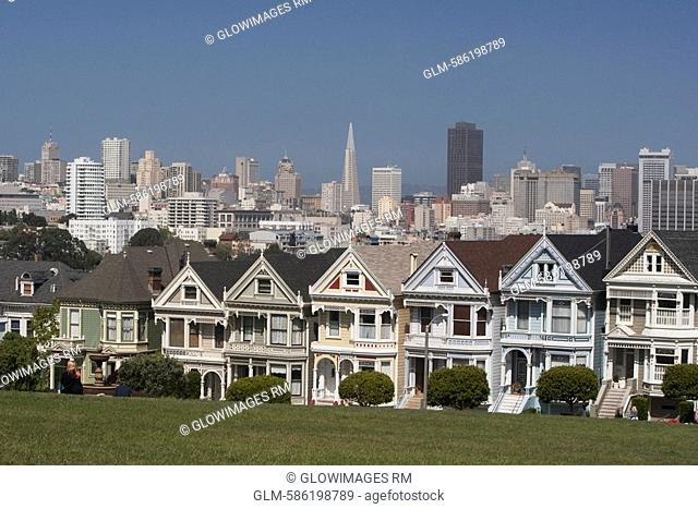 Row of Victorian style houses in a city, Alamo Square, Painted Ladies, San Francisco, California, USA