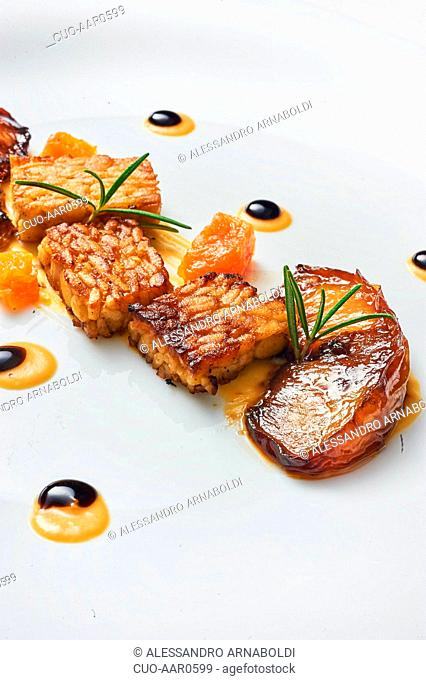 Grilled temphe with peach marinated in vine an pumpkin cream