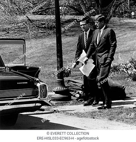 President Kennedy with Theodore Sorensen, his longtime close advisor and speech writer. White House, South Lawn, March 12, 1963