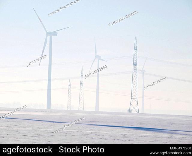 Wind turbines near Hanover, Lower Saxony, Germany, Europe
