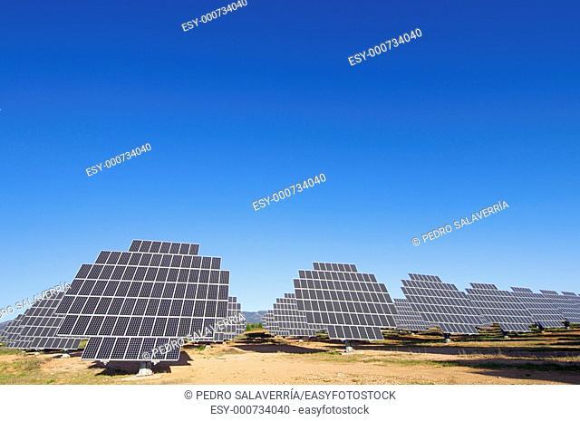 photovoltaic panels with blue sky, in Sadaba, Saragossa, Spain
