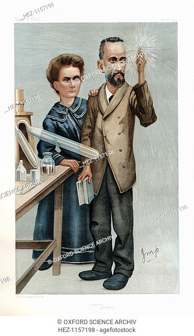 Pierre and Marie Curie, French physicists, 1904. Polish-born Marie Curie and her husband Pierre continued the work on radioactivity started by Henri Becquerel